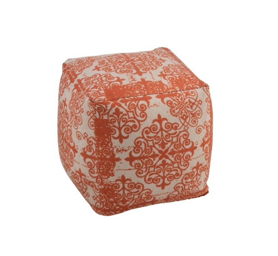 Poef Vierkant Polyester Barok Oranje - Beige