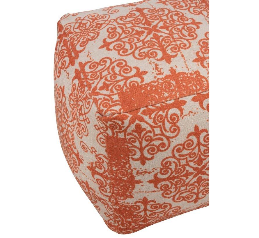 Pouf Square Polyester Baroque Orange - Beige