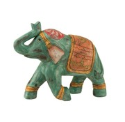 J -Line Decoratie Olifant Indisch Knielend Poly Oranje - Turquoise