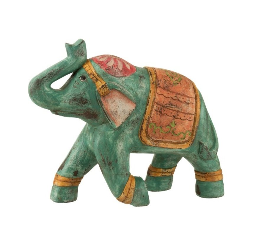 Decoratie Olifant Indisch Knielend Poly Oranje - Turquoise