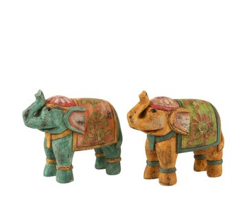 J -Line Decoratie Olifant Indisch Poly Oranje Turquoise - Small