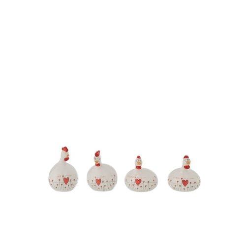 J -Line Decoration Chicken Valentine ceramic White Red - Small