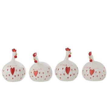 J -Line Decoration Chicken Valentine ceramics White Red - Large