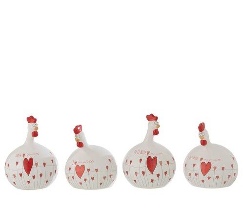 J -Line Decoratie Kip Valentijn keramiek Wit Rood - Large