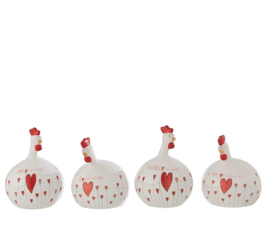 Decoration Chicken Valentine ceramics White Red - Large