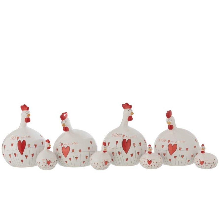 Decoratie Kip Valentijn keramiek Wit Rood - Large