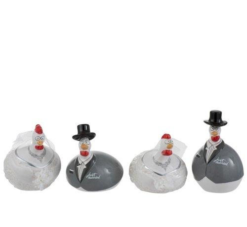 J -Line Decoration Chicken Wedding couple ceramic White Gray - Small
