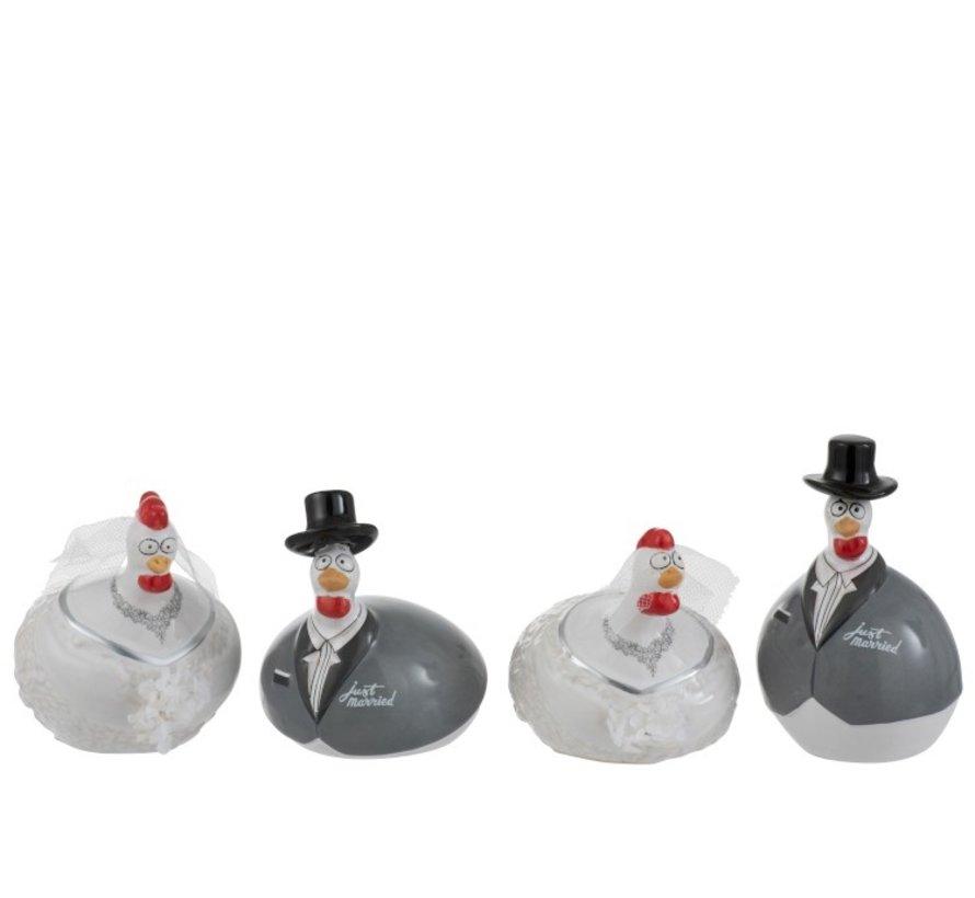 Decoration Chicken Wedding couple ceramic White Gray - Small