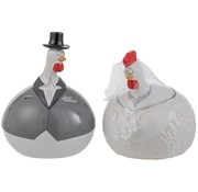 J -Line Decoration Chicken Wedding couple ceramic White Gray - Large
