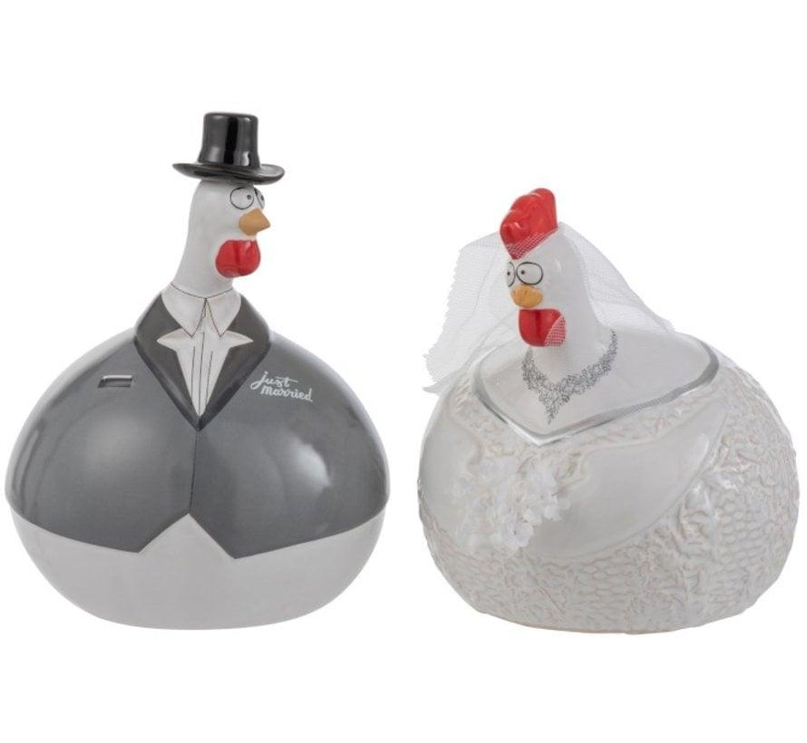 Decoration Chicken Wedding couple ceramic White Gray - Large