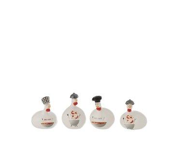 J-Line Decoration Chicken Barbecue ceramic Red Gray White - Small