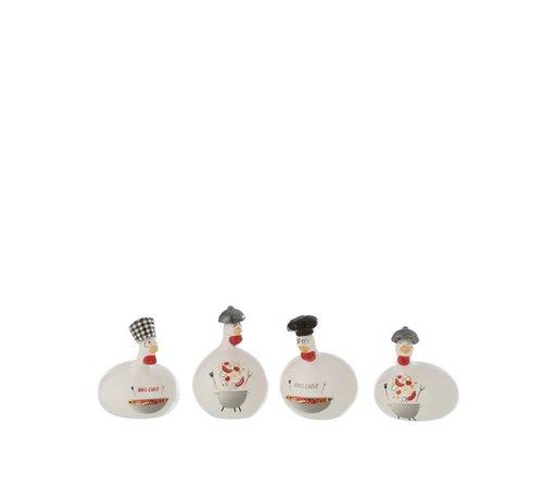 J -Line Decoratie Kip Barbecue keramiek Rood Grijs Wit - Small
