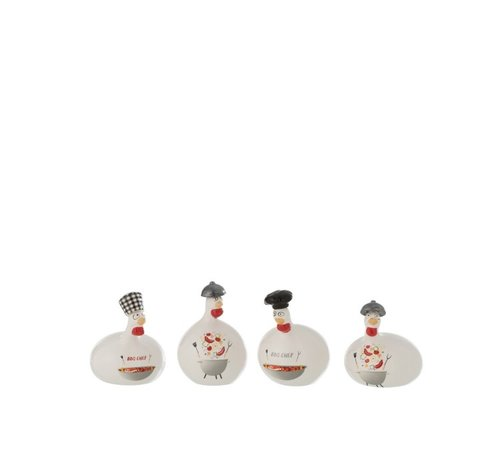 J -Line Decoration Chicken Barbecue ceramic Red Gray White - Small