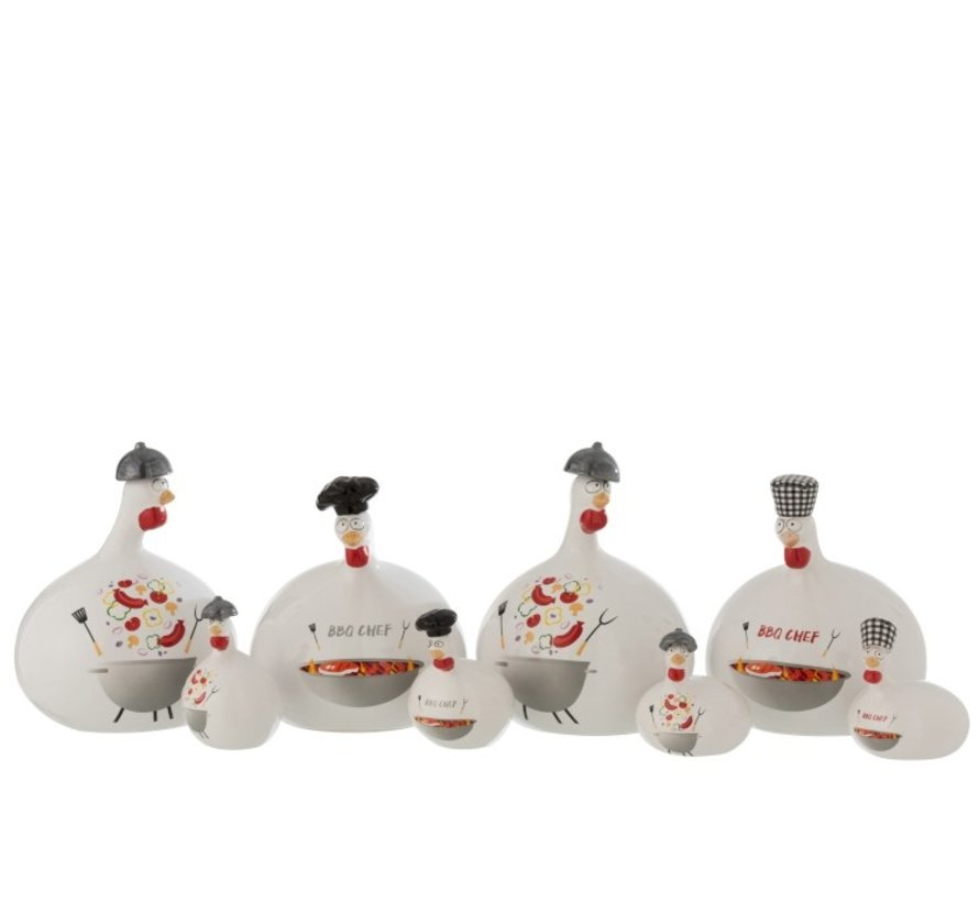 Decoration Chicken Barbecue ceramic Red Gray White - Small