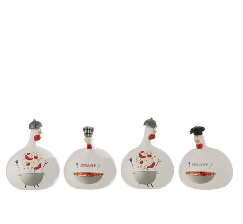 J -Line Decoration Chicken Barbecue ceramic Red Gray White - Large