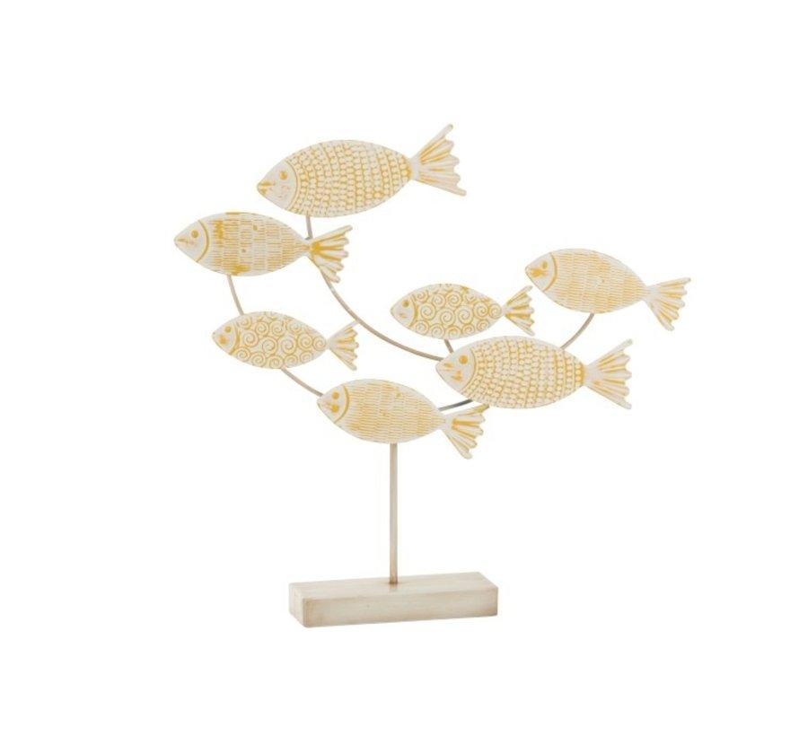 Decoratie Zwemmende Vissen Op Voet Metaal Wit - Geel