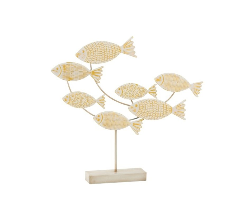 Decoration Swimming Fish On Foot Metal White - Yellow