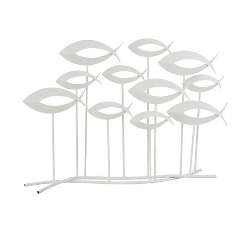 J -Line Decoratie Zwemmende Vissen Metaal Op Voet Open - Wit
