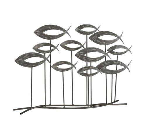 J -Line Decoratie Zwemmende Vissen Metaal Op Voet Open - Grijs