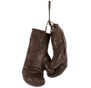 J -Line Decoration Boxing Gloves Leather - Dark Brown