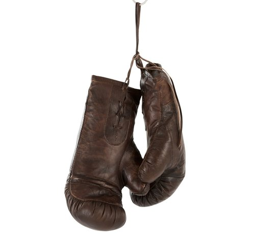 J -Line Decoration Boxing Gloves Leather - Dark Brown