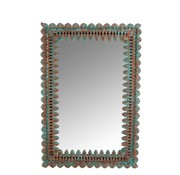 J -Line Wall mirror Rectangle Oriental Mango Wood Azure - Orange
