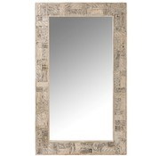 J -Line Wall mirror Rectangle Symbols Recycled Wood Crops - White