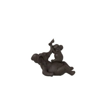 J-Line Decoration Elephant Lying With Child Poly - Dark Brown