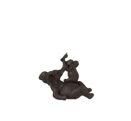 J-Line Decoratie Olifant Liggend Met Kind Poly - Donkerbruin