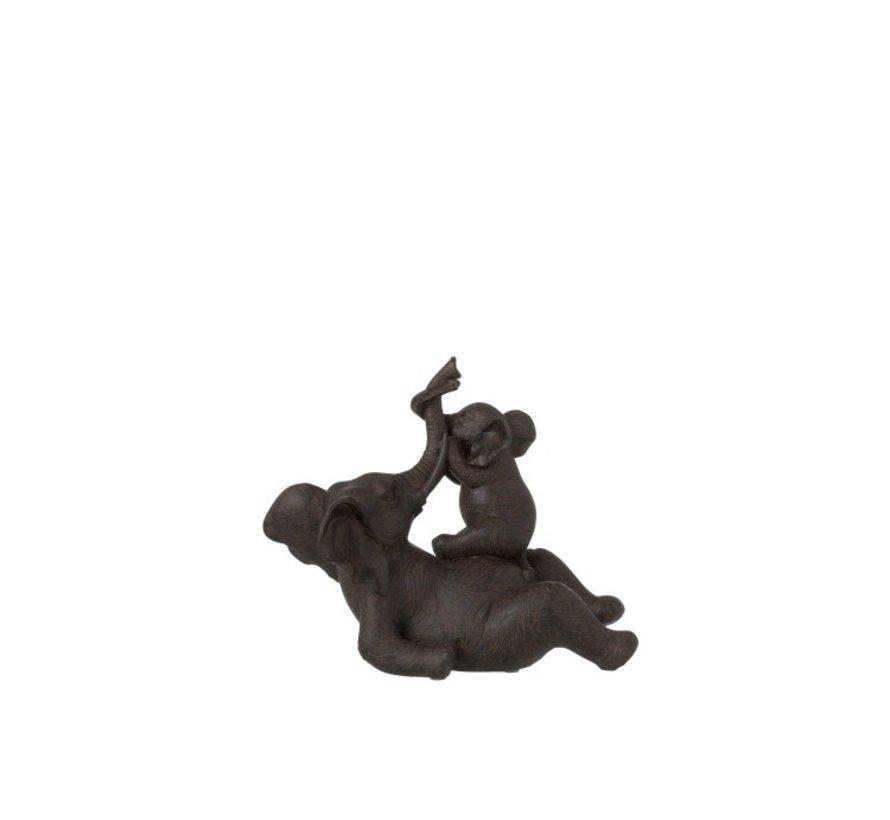 Decoratie Olifant Liggend Met Kind Poly - Donkerbruin