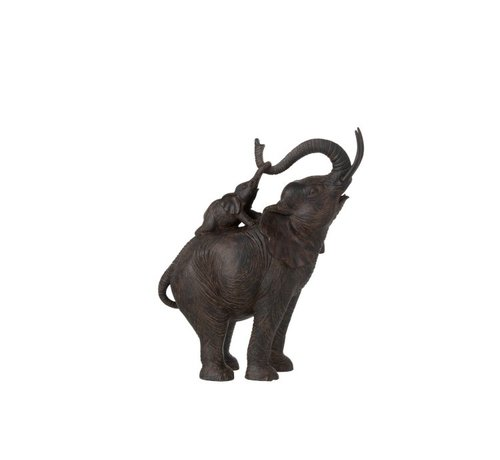 J -Line Decoration Elephant Standing With Child On Back Poly - Dark Brown