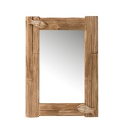 J -Line Wall Mirror Rectangle Fish Paulownia Wood Natural - White