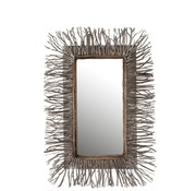 J -Line Wall Mirror Rectangle Branches Wood Washed - Gray