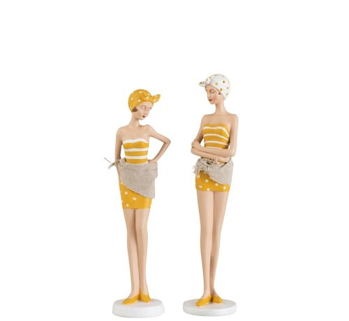 J -Line Decoration Standing Women Swimsuit Sixties Ocher - White