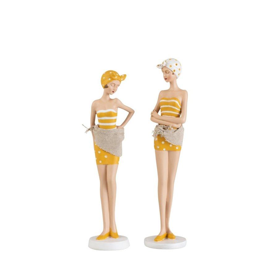 Decoration Standing Women Swimsuit Sixties Ocher - White