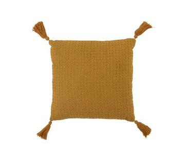 J-Line Cushion Square Cotton Waffle Pattern Tassels - Ocher