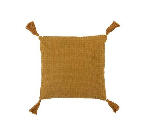 J -Line Cushion Square Cotton Waffle Pattern Tassels - Ocher