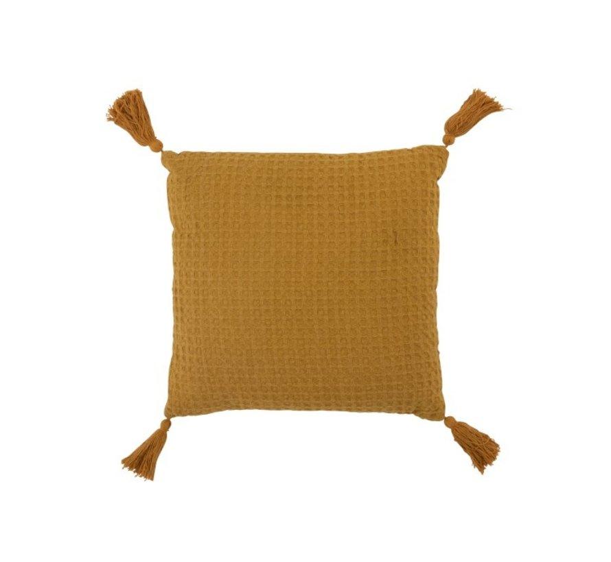 Cushion Square Cotton Waffle Pattern Tassels - Ocher