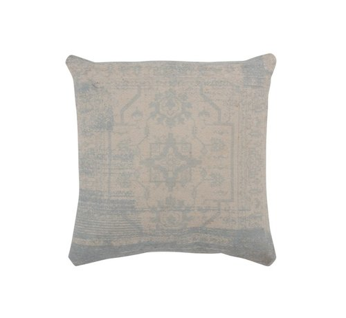 J -Line Cushion Square Poly Baroque Pattern Beige - Blue