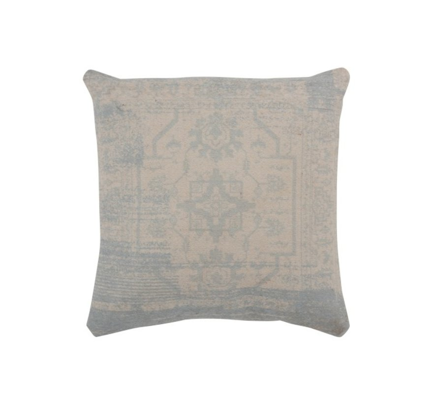 Cushion Square Poly Baroque Pattern Beige - Blue