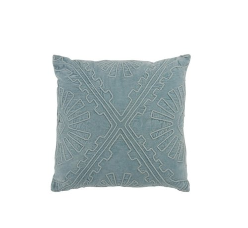 J -Line Cushion Square Cotton Embroidery Patterns - Light Blue
