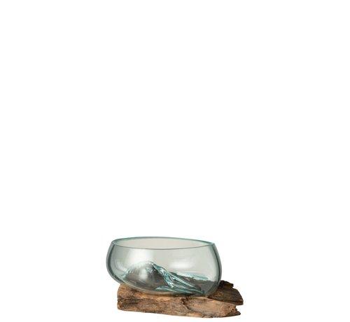 J -Line Vaas Op Voet Hout Gerecycleerd Glass Natuurlijk Bruin - Small