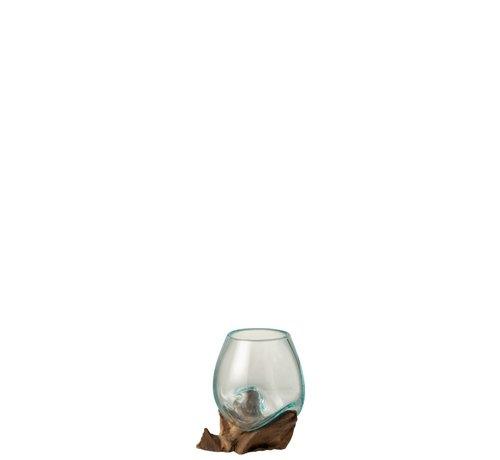 J-Line Vaas Op Voet Hout Gerecycleerd Glass Natuurlijk Bruin - Medium