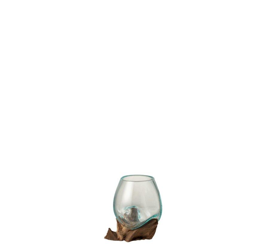 Vaas Op Voet Hout Gerecycleerd Glass Natuurlijk Bruin - Medium