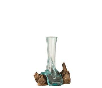 J -Line Vaas Tube Op Voet Hout Glass Natuurlijk Bruin - Medium