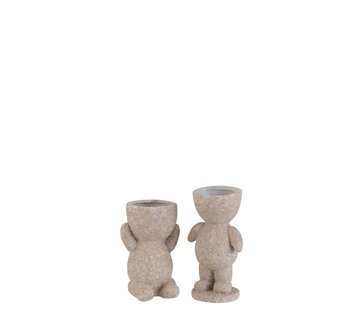 J -Line Bloempot Figuur Magnesium Poly Beige - Small