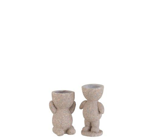 J -Line Bloempot Figuur Magnesium Poly Beige - Small