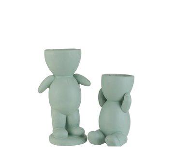 J -Line Flowerpot Figure Ceramic Light Green - Large