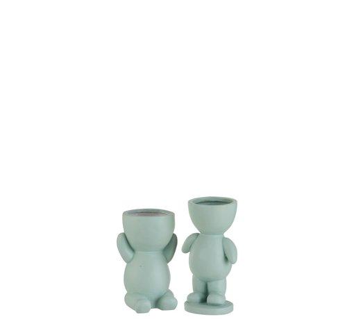 J -Line Flowerpot Figure Ceramic Light Green - Small
