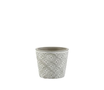 J -Line Flowerpot Oriental Patterns ceramic Gray - Small